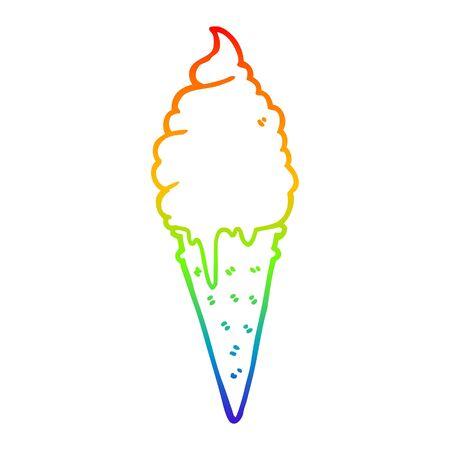 rainbow gradient line drawing of a cartoon ice cream