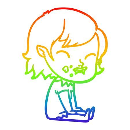 rainbow gradient line drawing of a cartoon vampire girl with blood on cheek 向量圖像