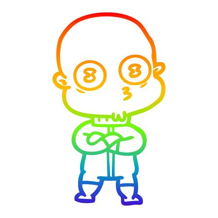 rainbow gradient line drawing of a cartoon weird bald spaceman