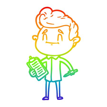 rainbow gradient line drawing of a happy cartoon man with pen and clipboard