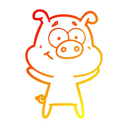 warm gradient line drawing of a happy cartoon pig Ilustrace