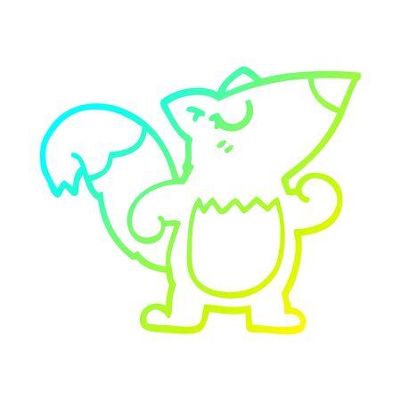 cold gradient line drawing of a cartoon confident squirrel Stock fotó - 129798059