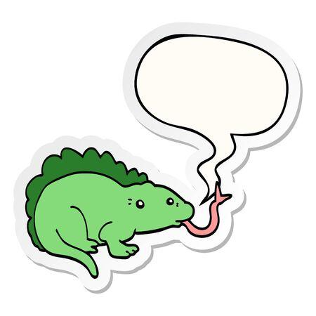 cartoon lizard with speech bubble sticker