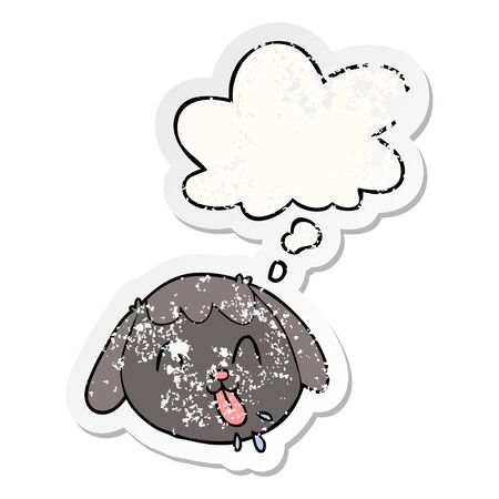 cartoon dog face with thought bubble as a distressed worn sticker