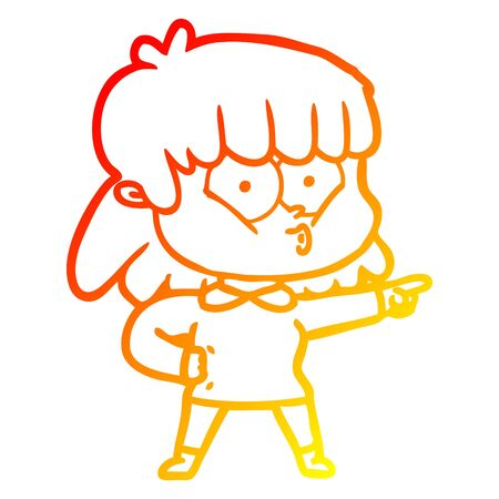 warm gradient line drawing of a cartoon whistling girl