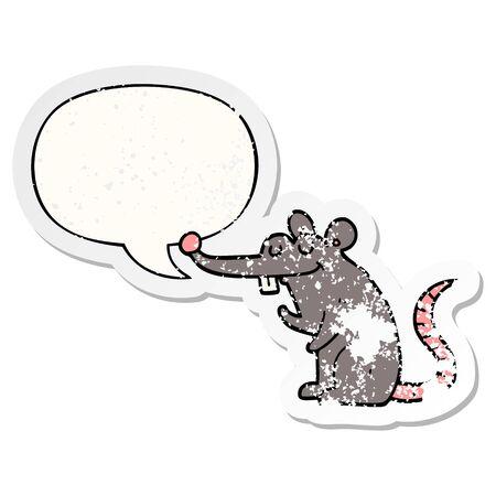cartoon rat with speech bubble distressed distressed old sticker Illusztráció