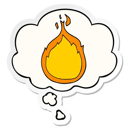 cartoon flames with thought bubble as a printed sticker Иллюстрация
