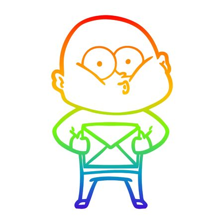 rainbow gradient line drawing of a cartoon bald man staring
