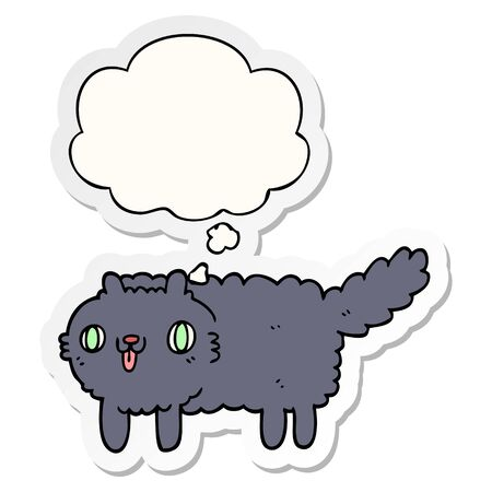 cartoon cat with thought bubble as a printed sticker