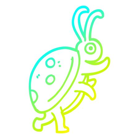 cold gradient line drawing of a cartoon ladybug Illustration