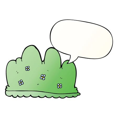 cartoon hedge with speech bubble in smooth gradient style