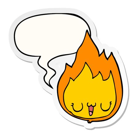 cartoon flame with face with speech bubble sticker