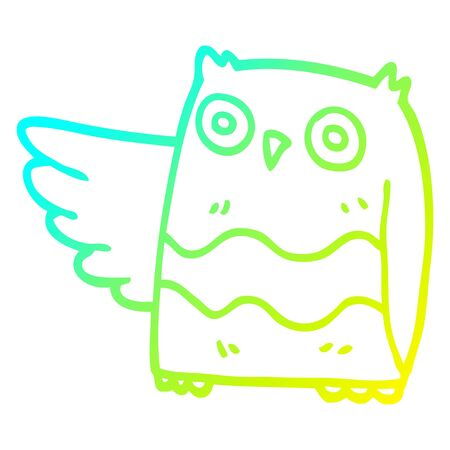 cold gradient line drawing of a cartoon happy owl