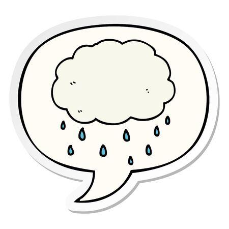 cartoon rain cloud with speech bubble sticker Illusztráció