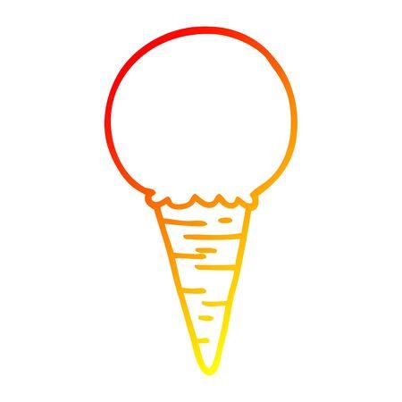 warm gradient line drawing of a cartoon ice cream cone