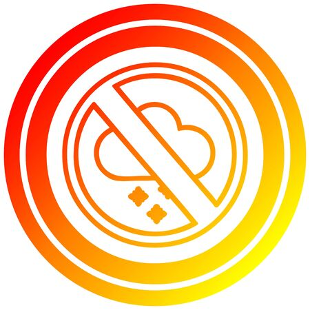 no cold weather circular icon with warm gradient finish