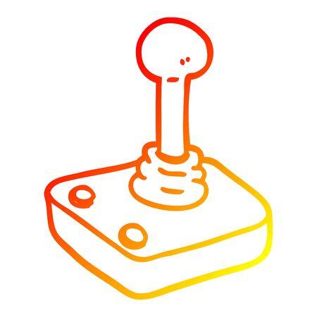 warm gradient line drawing of a cartoon joystick