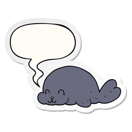 cute cartoon seal with speech bubble sticker