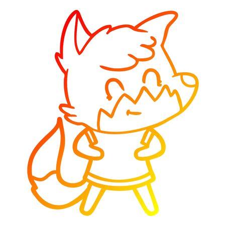 warm gradient line drawing of a cartoon happy fox