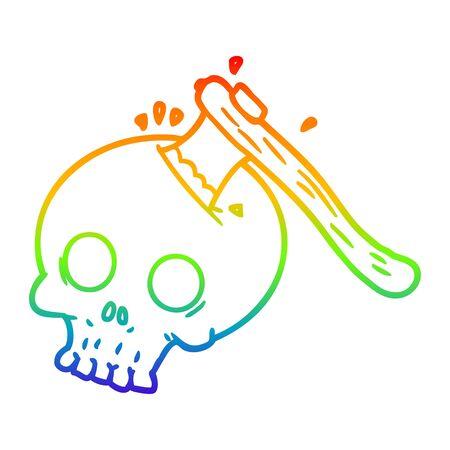 rainbow gradient line drawing of a cartoon axe in skull Ilustração