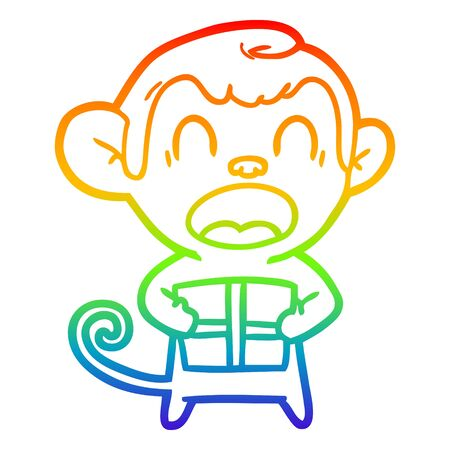 rainbow gradient line drawing of a shouting cartoon monkey carrying christmas gift Stock Illustratie