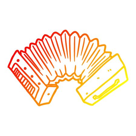 warm gradient line drawing of a cartoon accordion