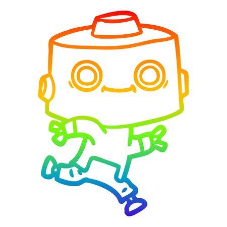 rainbow gradient line drawing of a cartoon robot Foto de archivo - 129798532