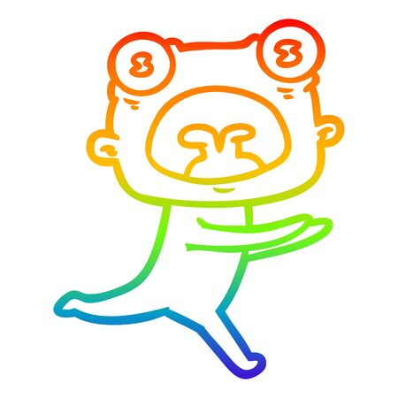 rainbow gradient line drawing of a cartoon weird alien running away