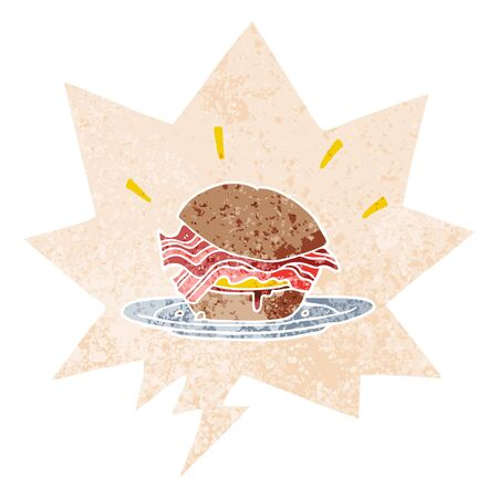 cartoon amazingly tasty bacon breakfast sandwich with cheese with speech bubble