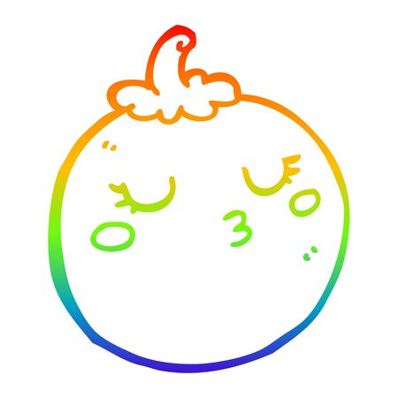 rainbow gradient line drawing of a cartoon tomato