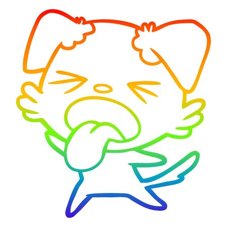 rainbow gradient line drawing of a cartoon disgusted dog Illustration