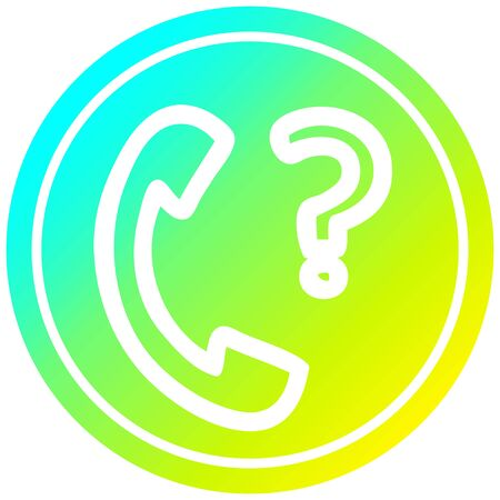 telephone handset with question mark circular icon with cool gradient finish