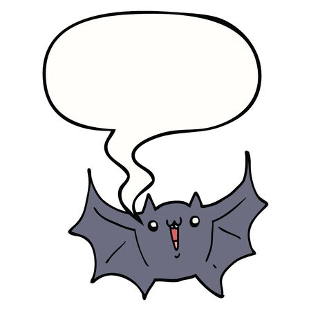 cartoon happy vampire bat with speech bubble 向量圖像