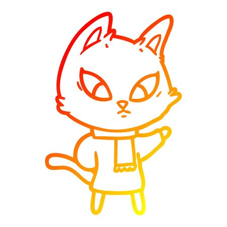 warm gradient line drawing of a confused cartoon cat Иллюстрация