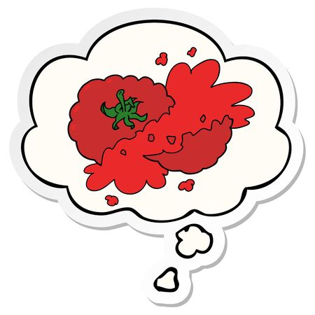 cartoon squashed tomato with thought bubble as a printed sticker 向量圖像