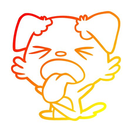 warm gradient line drawing of a cartoon dog throwing tantrum Illustration