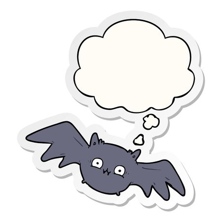 cartoon halloween bat with thought bubble as a printed sticker 向量圖像