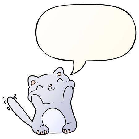 very happy cute cartoon cat  with speech bubble in smooth gradient style Illusztráció