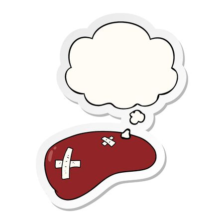 cartoon repaired liver with thought bubble as a printed sticker