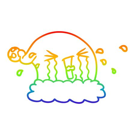 rainbow gradient line drawing of a cartoon christmas hat crying