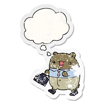 cute cartoon business bear with thought bubble as a distressed worn sticker