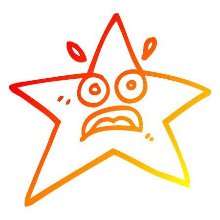 warm gradient line drawing of a funny cartoon star Çizim