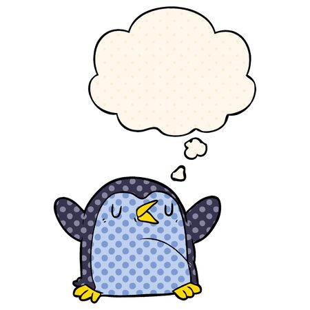 cartoon penguin with thought bubble in comic book style