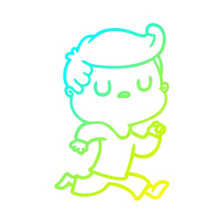 cold gradient line drawing of a cartoon aloof man running