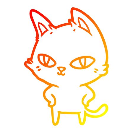 warm gradient line drawing of a cartoon cat with bright eyes