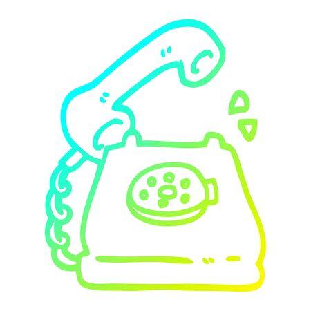 cold gradient line drawing of a cartoon telephone ringing