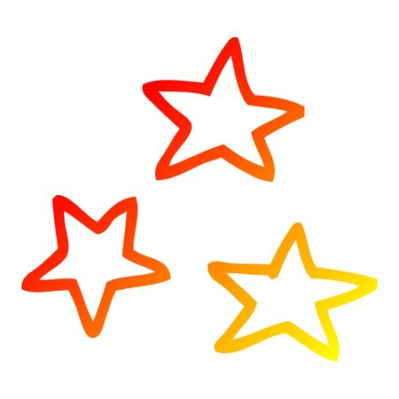 warm gradient line drawing of a cartoon of three stars