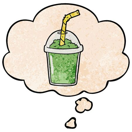 cartoon iced smoothie with thought bubble in grunge texture style