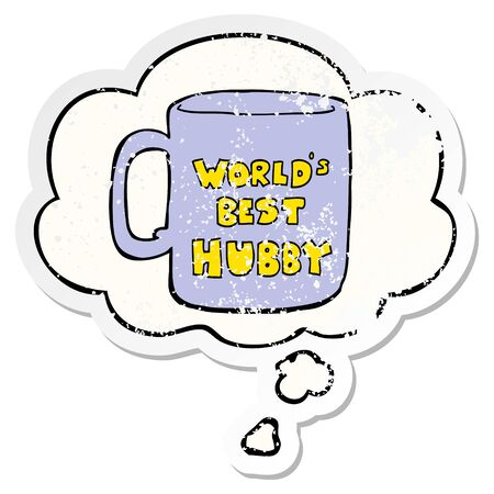 worlds best hubby mug with thought bubble as a distressed worn sticker  イラスト・ベクター素材