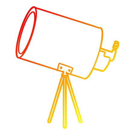 warm gradient line drawing of a cartoon big telescope Illusztráció